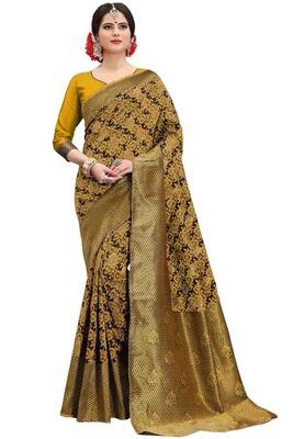Mustard woven banarasi silk saree with blouse
