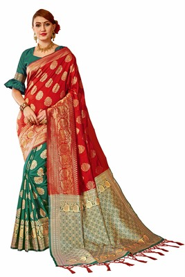 Red woven banarasi silk saree with blouse