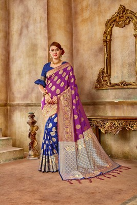 Purple woven banarasi silk saree with blouse