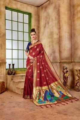 Rust woven banarasi silk saree with blouse