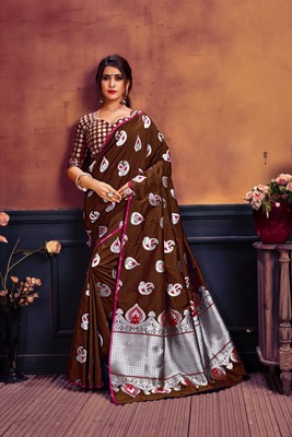 Brown woven banarasi silk saree with blouse