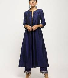 Dark-blue plain silk long-kurtis