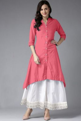 Pink plain rayon long-kurtis