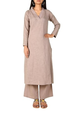 Light-grey plain cotton long-kurtis