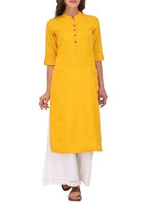Yellow plain cotton long-kurtis