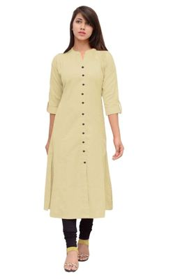 Beige plain cotton long-kurtis