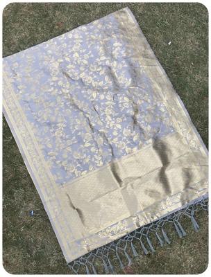 Grey woven banarasi Dupatta