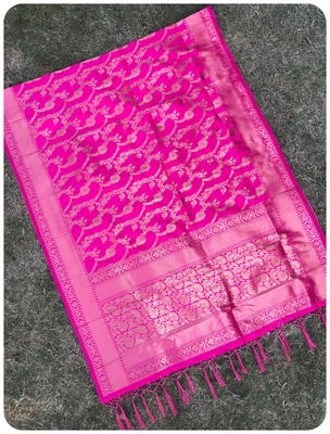 Pink woven banarasi Dupatta