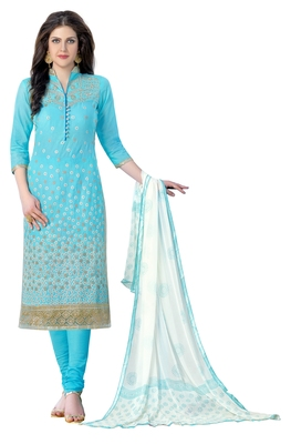 Woman Sky Blue Cotton Party Wear Fancy Embroidered Suit Salwar Kameez Dress Material