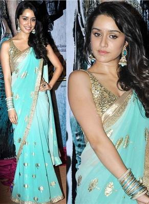 Bollywood Actress Shraddha Kapoor Inspired Designer Party Wear Chiffon Saree
