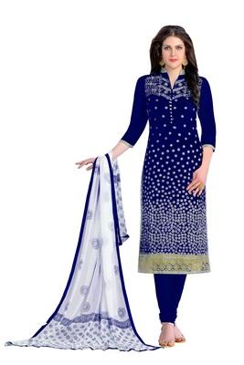 Woman Blue Cotton Party Wear Embroidered Suit Salwar Kameez Dress Material