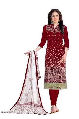 Woman Marron Cotton Party Wear Embroidered Suit Salwar Kameez Dress Material