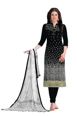 Woman Black Cotton Party Wear Embroidered Suit Salwar Kameez Dress Material