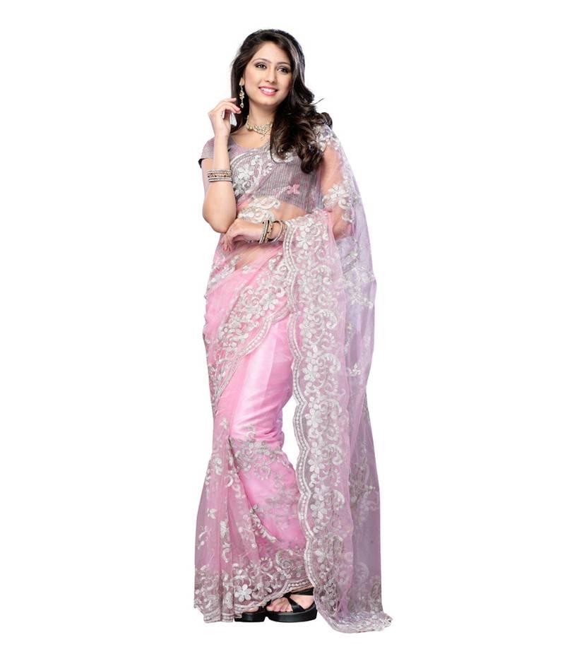 bd307af70af4 Pink Colored designer Bollywood actress priyanka chopra Inspired pure net  saree ...