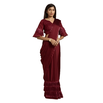 Rust hand woven georgette saree with blouse