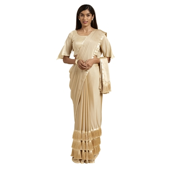 Cream hand woven georgette saree with blouse