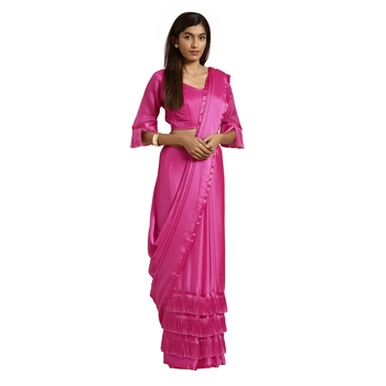 Pink hand woven georgette saree with blouse