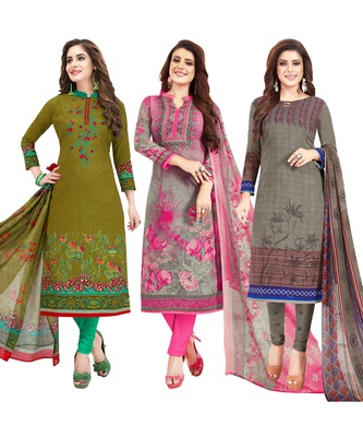 Women's Pack of 3 multicolor Synthetic Printed Unstitched Dress Material Combo
