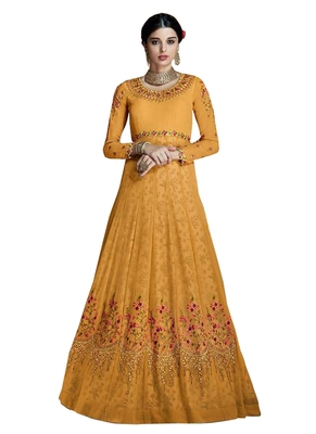 Orange resham embroidery georgette salwar