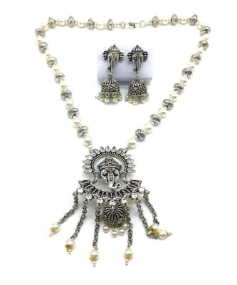 Women'S Temple Jewellery Traditional Oxidised Silver Plated Necklace Earrings Sets With Ganesh Ji Pendant Jhumki Beads