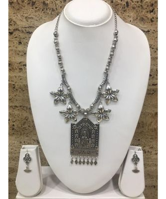 Women's Temple Jewellery Traditional Oxidised Silver Plated Necklace Earrings Sets with Ganesh Ji Pendent Flower Beads