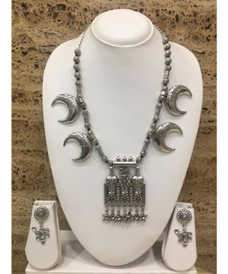 Women's Jewellery Set Traditional Oxidised Silver Plated Necklace Earrings with Peacock Flower Pendant Star Moon Beads