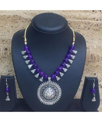 Women's Temple Jewellery Set Traditional Oxidised Silver Plated Necklace Earrings with Ganesh Ji Pendent Navy Blue Beads