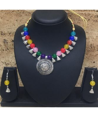 Women's Temple Jewellery Set Oxidised Silver Plated Necklace Earrings Sets with Ganesh Ji Pendent Multicolor Beads