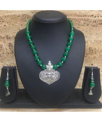 Women's Jewellery Set Traditional Oxidised Silver Plated Necklace Earrings Sets with Peacock Pendent Green Beaded Chain