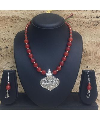 Women's Jewellery Set Traditional Oxidised Silver Plated Necklace Earrings Sets with Peacock Pendent Orange Beaded Chain