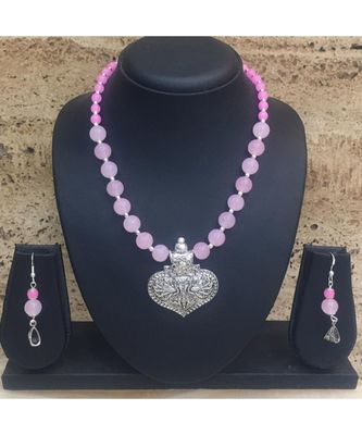 Women's Jewellery Set Traditional Oxidised Silver Plated Necklace Earrings Sets with Peacock Pendent Pink Beaded Chain