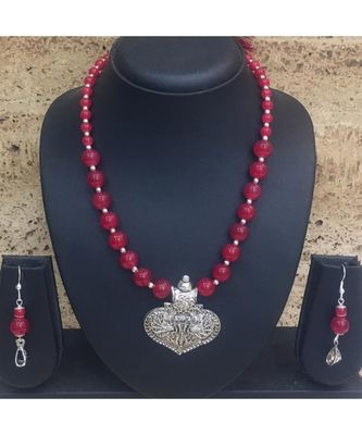Women'S Jewellery Set Traditional Oxidised Silver Plated Necklace Earrings Sets With Peacock Pendent Red Beaded Chain