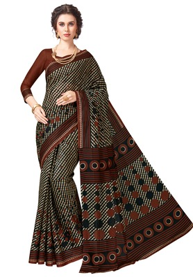 Women's Brown & Black Cotton Printed Saree with Blouse Piece