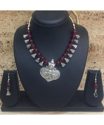Women'S Jewellery Sets Traditional Oxidised Silver Plated Necklace Earrings With Peacock Pendent Dark Red Beaded Chain