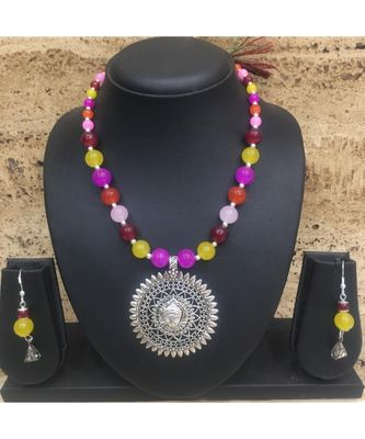 Women'S Temple Jewellery Sets Traditional Oxidised Silver Plated Necklace Earrings With Laxmi Pendent Multicolor Beads