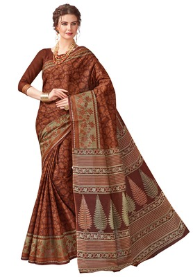 Women's Brown & Beige Cotton Printed Saree with Blouse Piece