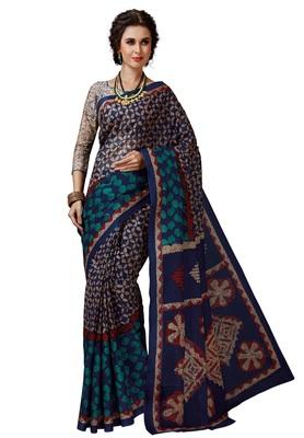 Women's Blue & Beige Cotton Printed Saree with Blouse Piece