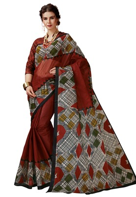 Women's Red & Black Cotton Printed Saree with Blouse Piece