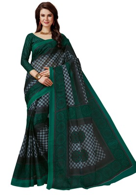 Women's Peacock Green & Black Cotton Printed Saree with Blouse Piece