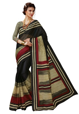 Women's Black & Beige Cotton Printed Saree with Blouse Piece