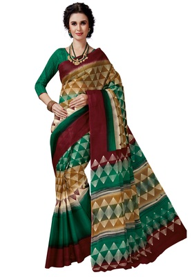 Women's Multicolor Cotton Printed Saree with Blouse Piece