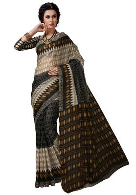 Women's Black & Beige Cotton Printed Saree with Blouse Piece