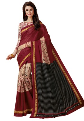 Women's Maroon & Beige Cotton Printed Saree with Blouse Piece