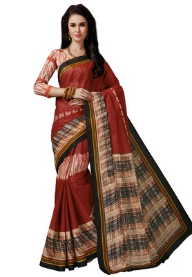 Women's Red & Cream Cotton Printed Saree with Blouse Piece