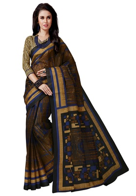 Women's Brown & Gold Cotton Printed Saree with Blouse Piece