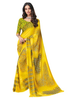 Women's Yellow & Green Georgette Printed Saree with Blouse Piece