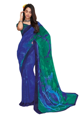 Women's Blue & Green Georgette Printed Saree with Blouse Piece