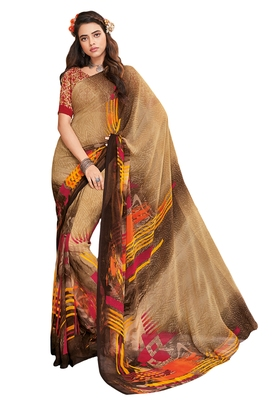 Women's Beige & Brown Georgette Printed Saree with Blouse Piece