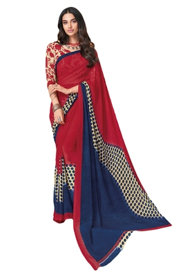 Women's Red & Blue Georgette Printed Saree with Blouse Piece