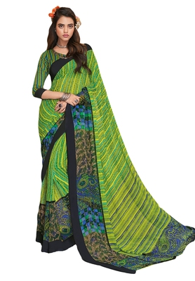 Women's Green & Black Georgette Printed Saree with Blouse Piece
